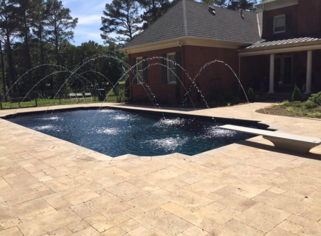 Backyard Pool Fountain Decor Diving Board