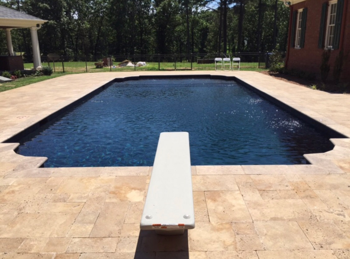 Diving Board Backyard Pool Tile Surround