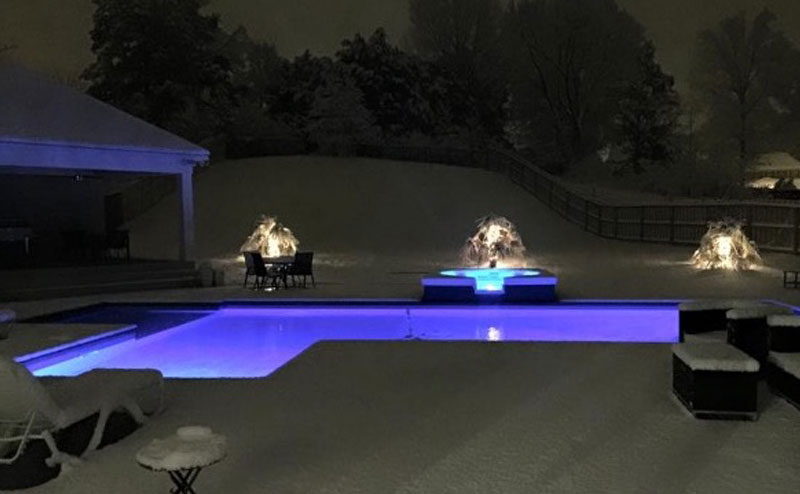 Night Light Pool In Snow